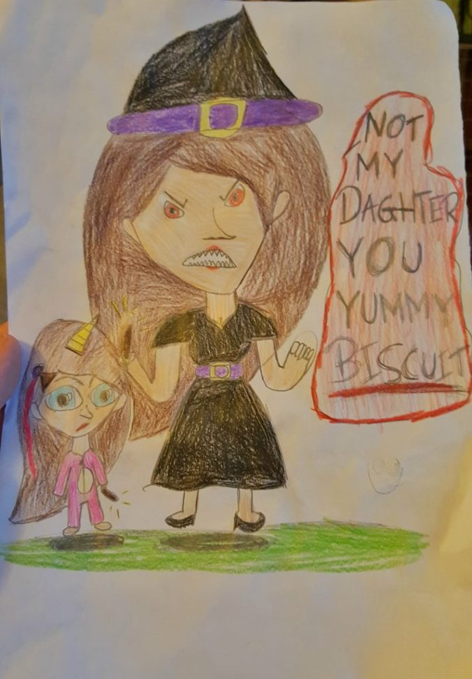 "harry potter themed drawing of a witch with her daughter who is dressed as a unicorn and the witch is saying ""not my daughter you biscuit"""