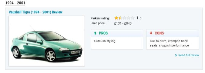 Vauxhall Tigra (1994-2001) Parkers Review Pros - Cute styling. Cons - Dull to drive, cramped back seats, sluggish performance