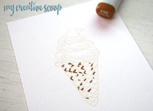 How to color ice cream using Copic Markers and Altenew Stamps