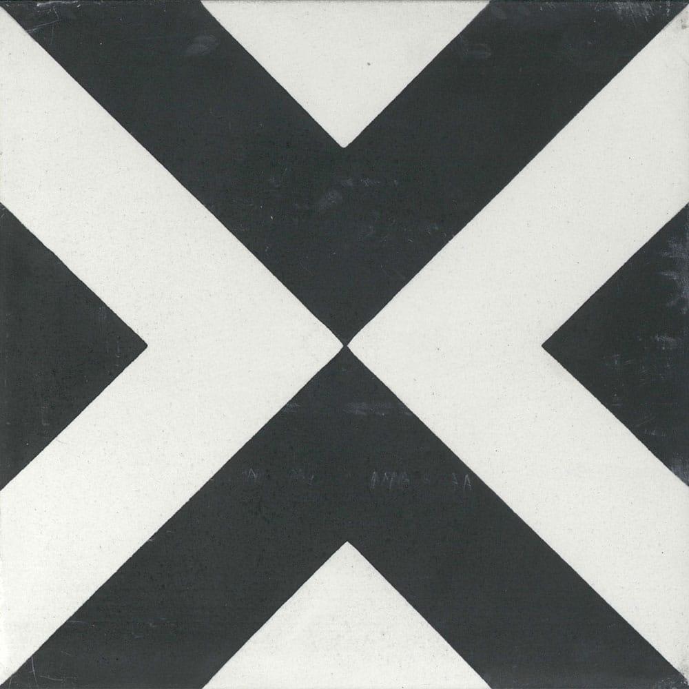 large box black white 8x8 encaustic cement tile