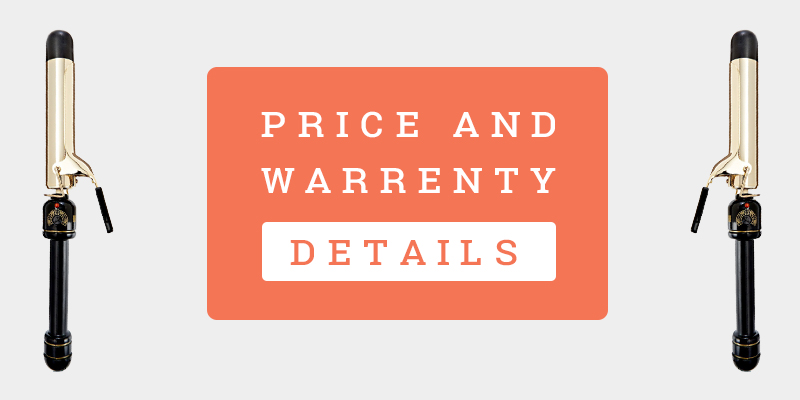 """Price And Warranty Details Banner Of Helen Of Troy Gold Series 1-1/4"""" Spring Curling Iron"""