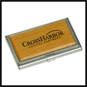 Wood with metal Business Card Holder