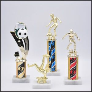 small soccer trophy on starZ column