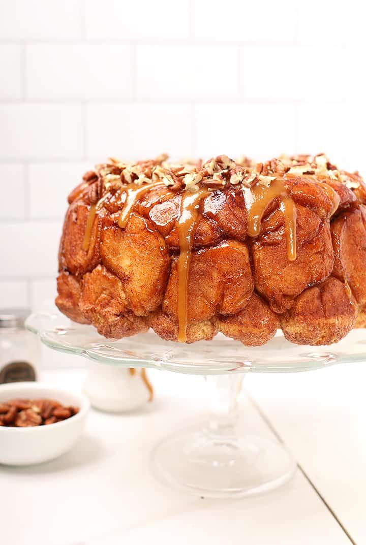 vegan monkey bread with caramel drizzle