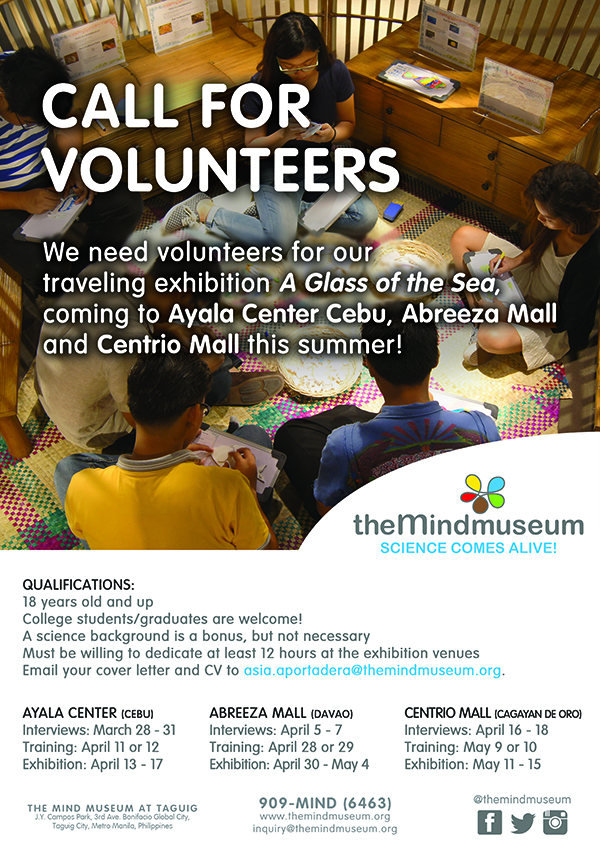 Call for Volunteers for he Mind Museum's A Glass of the Sea Exhibition at Abreeza Ayala Mall