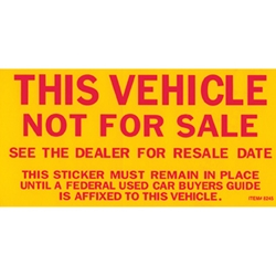Vehicle Not For Sale Sticker My Dealer Supply