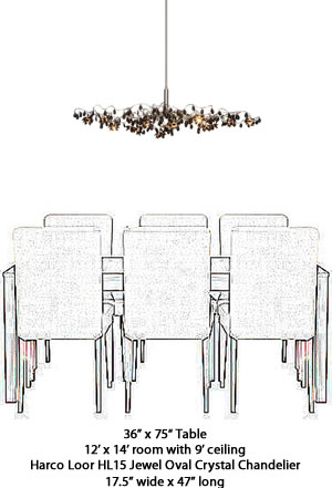 Harco Loor Jewel Oval Chandelier