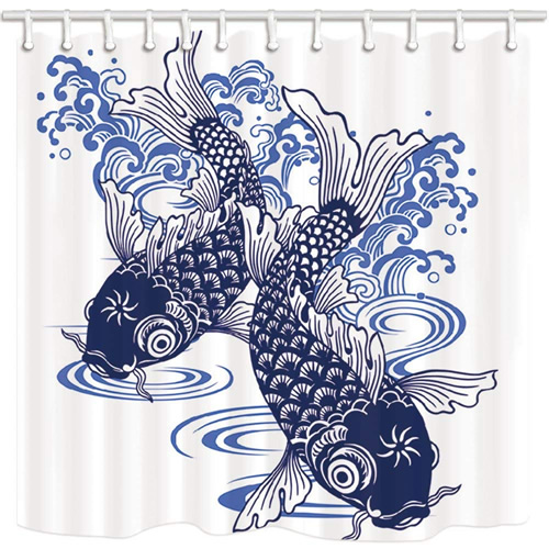 asian blue and white porcelain fish mat
