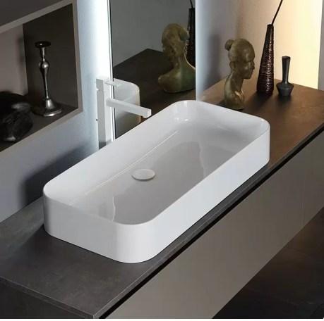 Lavabo Beauty in ceramica, bianco lucido, senza troppopieno. L 60 x P 38.5 x A 12..5 cm