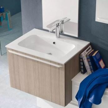 Lavabo Bliz in Mineralguss, bianco lucido, con troppopieno, spessore bordo 1.3 cm. L 70.5 x P 51.5 x A 17.5 cm