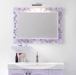 Specchiera Brocantage in finitura 900 colore opaco, senza presa ed interruttore. L 95 x P 3 x A 70 cm
