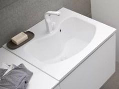 Lavatoio Look in minerlguss, bianco lucido, con troppopieno. L 71 x P 63 x A 30 cm