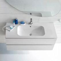 Lavabo Milk in ceramica, bianco lucido, con troppopieno. L 71.5 x P 51.5 x A 18 cm