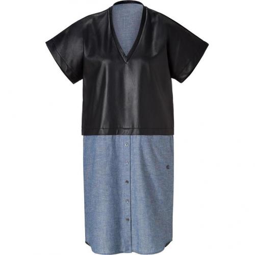 10 Crosby Derek Lam Black/Blue Jeans/Leather Dress