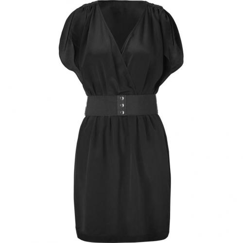 Akiko Black Belted Silk Surplus Dress