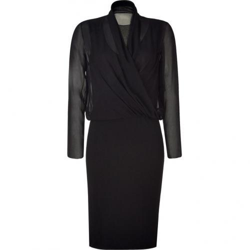 Alberta Ferretti Black Draped Wool-Blend Dress