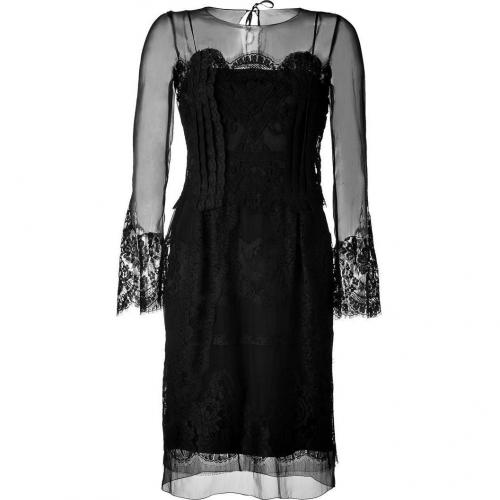 Alberta Ferretti Black Silk Dress With Lace Detailing