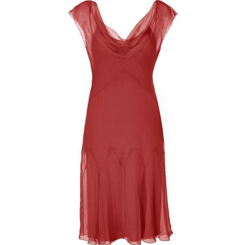 Alberta Ferretti Ruby Red Silk Godet Dress