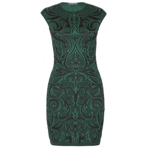 Alexander McQueen Intarsienstrickkleid Pure Green