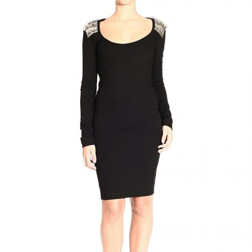 Alexander Mcqueen Long sleeve double jersey v neck brooches dress