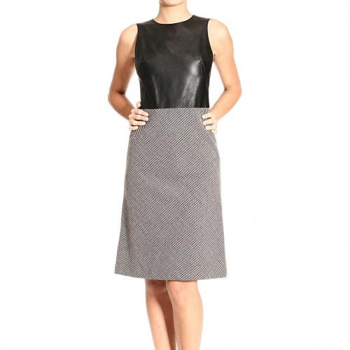 Alexander Mcqueen Sleeveless leather pied de poule dress