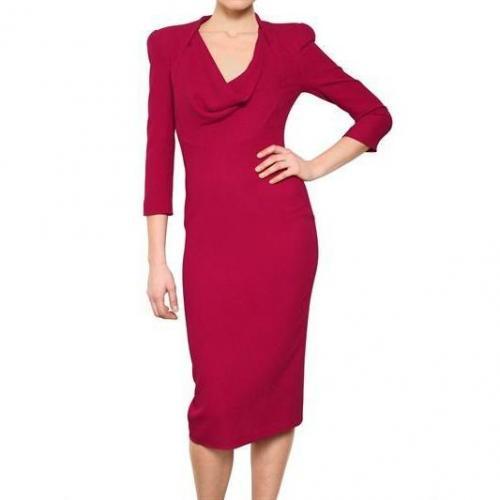 Alexander McQueen Textured Seiden Cady Kleid Rot
