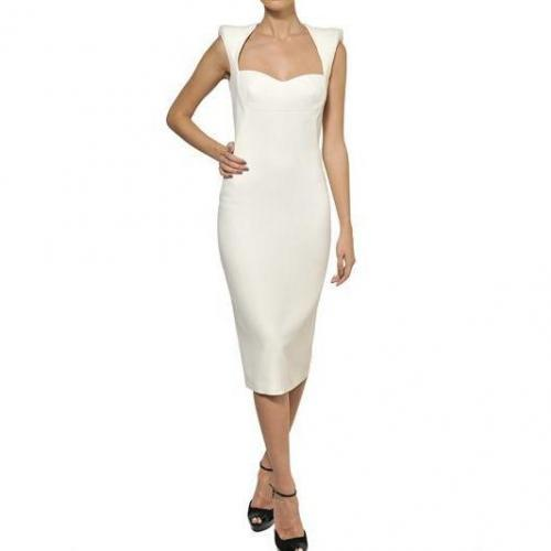 Alexander McQueen Viskose Krepp Kleid Weiß