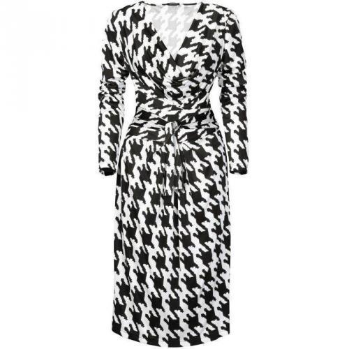 Apart Jerseykleid Weiß Schwarz Muster