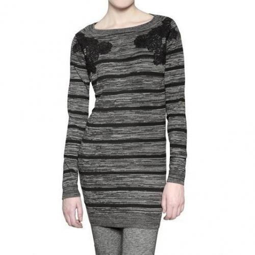 Athè By Vanessa Bruno Gestreiftes Woll Strick Maschen Kleid