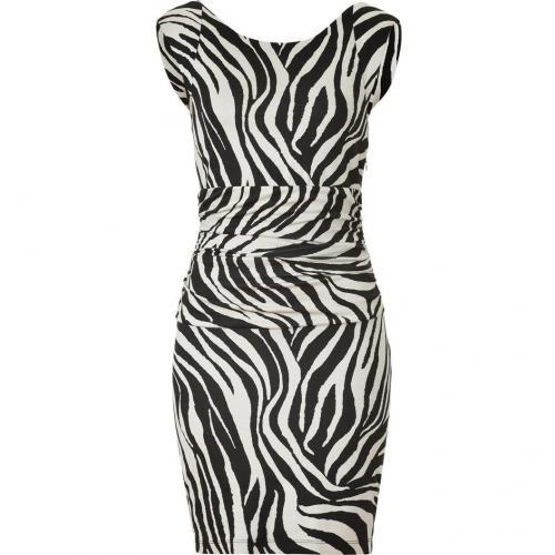 Bailey 44 Black & Sand Animal Print Draped Dress Ocelot