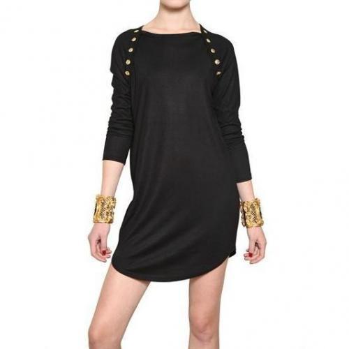 Balmain Gold Knopf Viskose Jersey Top/Kleid