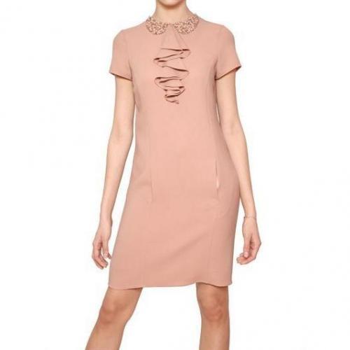 Blugirl Embroidered Kragen Rayon Cady Kleid