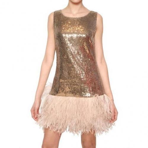 Blugirl Straußen Federn Pailletten Techno Netz Kleid