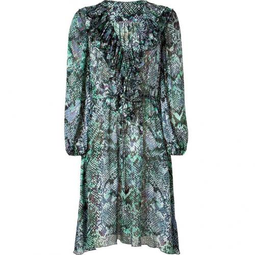 Blumarine Forest Multi Color Print Ruffled Silk Kleid