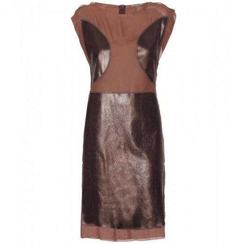 Bottega Veneta Transparentes Kleid Mit Lederelementen