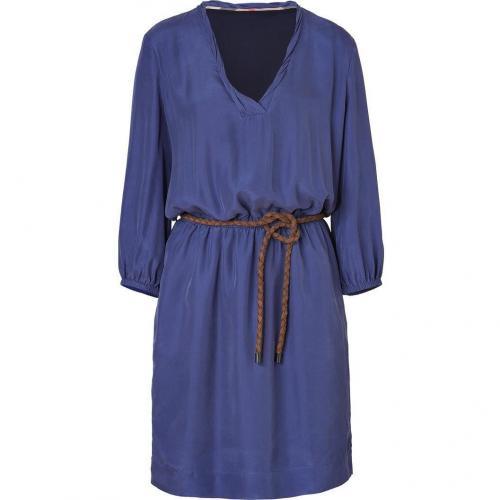 Burberry Brit Iris Blue Belted Silk Kleid