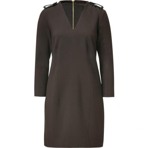 Burberry London Dark Clove Kleid with Braided Leather Epaulettes