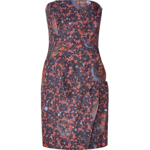 Cacharel Multicolor Draped and Strapless Kleid