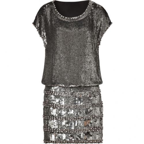 Collette Dinnigan Antique Silver Sequined Cap Sleeve Dress
