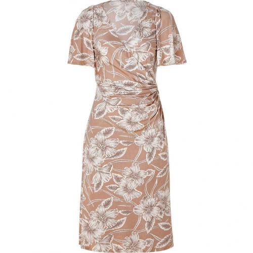 Collette Dinnigan Nude Hibiscus Wrap Front Silk Jersey Dress