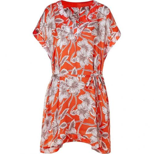 Collette Dinnigan Tangerine Hibiscus Satin Georgette Dress