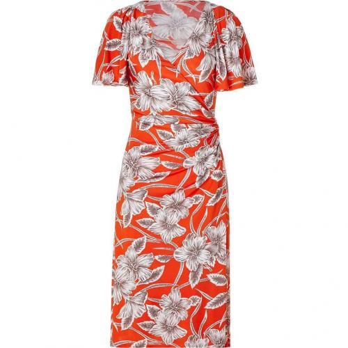 Collette Dinnigan Tangerine Hibiscus Wrap Front Silk Jersey Dress