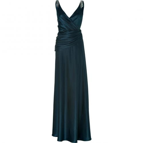 Collette Dinnigan Teal V-Neck Gown Silk Satin Dress With Crystal Detailing