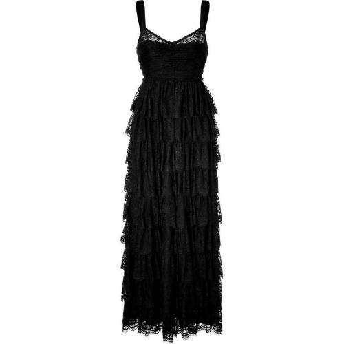 D&G Dolce & Gabbana Black Tiered Maxi Kleid