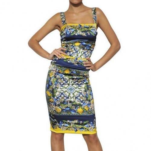 Dolce & Gabbana Bedrucktes Seiden Satin Kleid Bunt