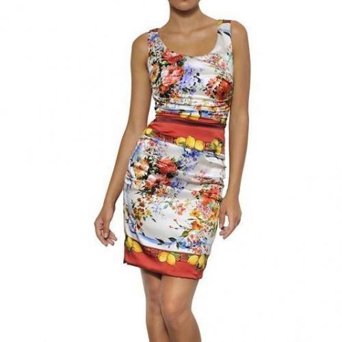 Dolce & Gabbana Bedrucktes Seiden Satin Kleid Mehrfarbig