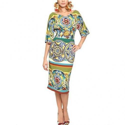 Dolce & Gabbana Viskose Cady Kleid Mit Tellerdruck
