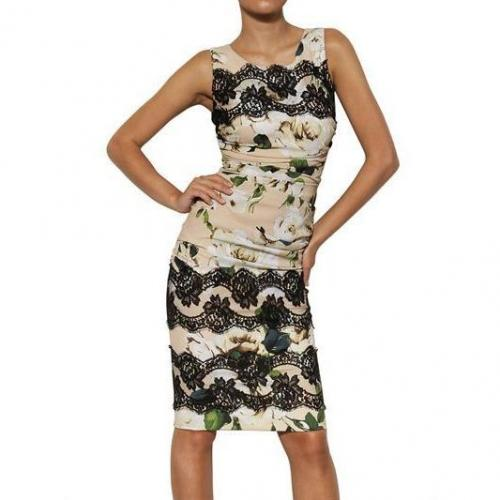 Dolce & Gabbana Viskosen Cady Kleid Mit Rosen & Spitzen Print