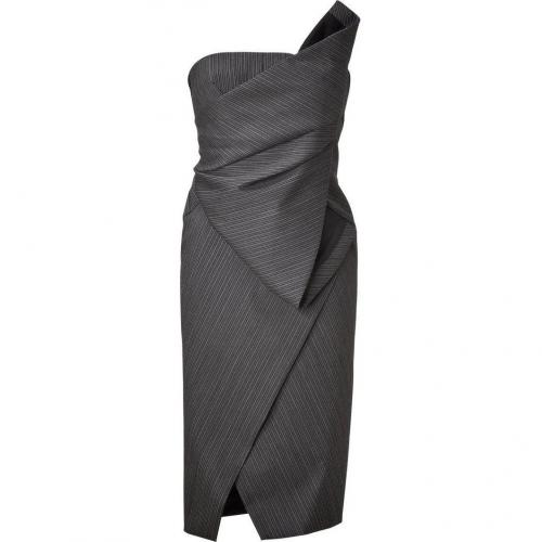 Donna Karan Anthracite Structured Origami Bustier Kleid