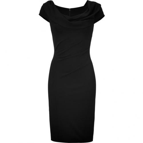 Donna Karan Black Draped Cuff Shoulder Kleid